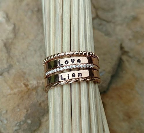 Stackable Name Ring Set in Rose Gold or Sterling Silver by Ella Joli