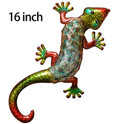 TERESA'S COLLECTIONS 16 inch Metal Gecko Wall Art Decor Lizard Hang Indoor Outdoor for Home Bedroom Living Room Office Garden