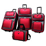 U.S Traveler New Yorker Lightweight Expandable Rolling Luggage 4-Piece Suitcases Sets - Red