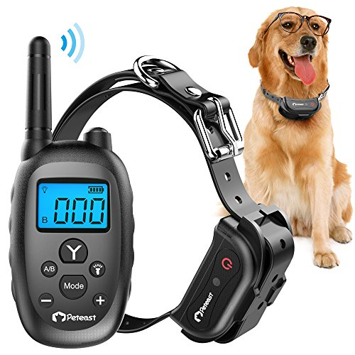 Peteast Remote Dog Training Collar, Rechargeable and Waterproof Electronic Dog Trainer Shock Collar with Beep, Vibration, and Shock for All Size Dogs (10Lbs - 100Lbs), 1000ft Range by Peteast