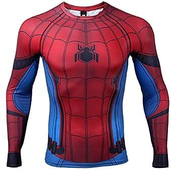 859b8f16 Civil War Long Sleeve Spiderman Compression Shirt 3D Print Men's Gym Top  (XXX-Large