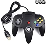 64 kirby - Classic N64 Controller, iNNEXT N64 Wired USB PC Game pad Joystick, N64 Bit USB Wired Game stick Joy pad Controller for Windows PC MAC Linux Raspberry Pi 3 Sega Genesis Higan (Black)