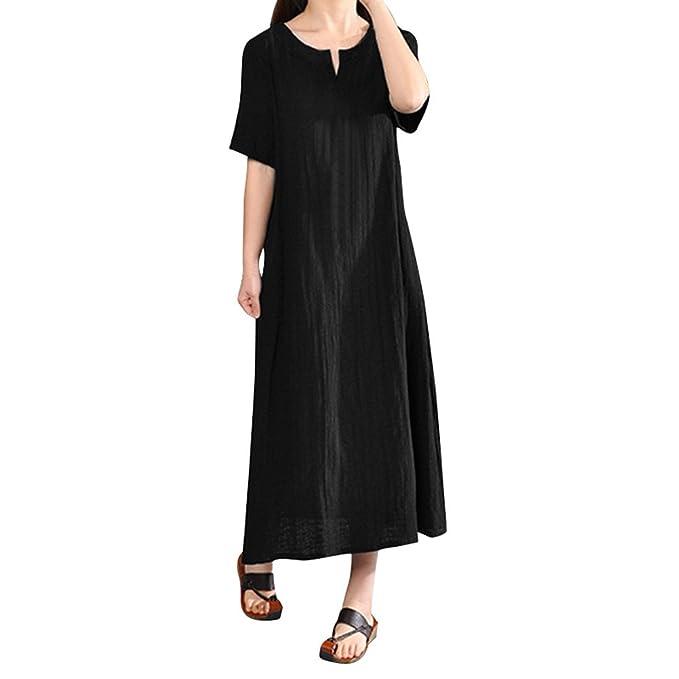 VENMO Frauen Plus Größe Bohemia Dress Kurzarm Baumwolle Leinenkleid ...
