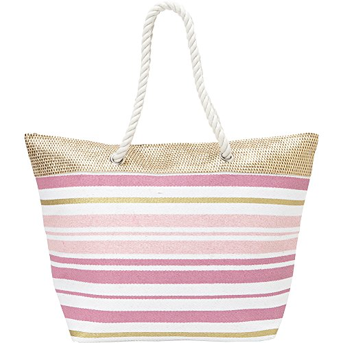 Magid Metallic Rope Tote with Rope Handle Lilac Striped (Metallic Striped Tote)