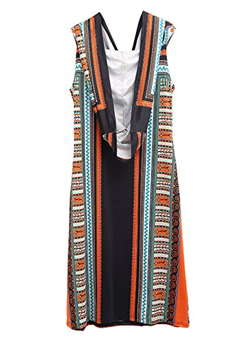 Ethnic amp;fuchsia Dress Hooded Achicgirl Bohemian Black Sleeveless Print Women's E6vfq6