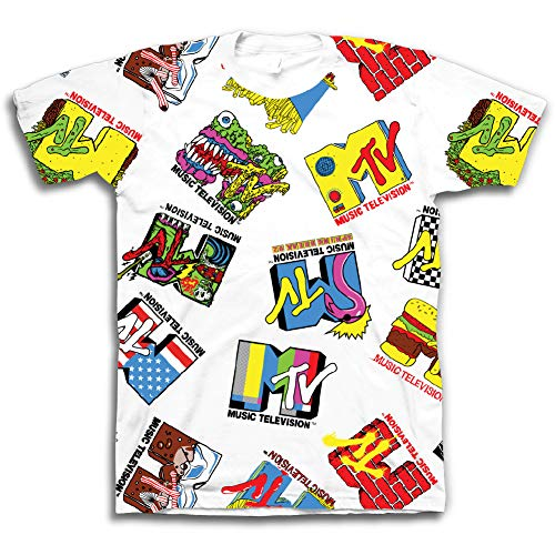 MTV 90S Classic Shows Shirt - All Over Logo Shirt Graphic Tee (White All Over, X-Large)