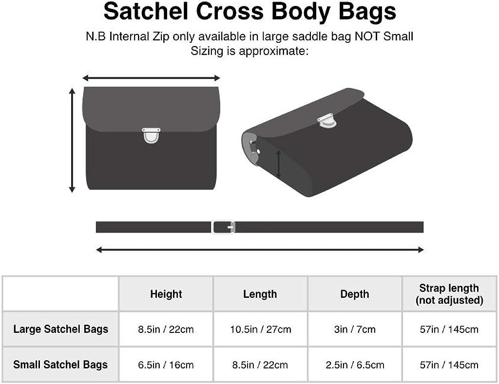 A to Z Leather Bolsos satchel de piel grandes y pequeños con correa ajustable, hechos a mano y con cierre metálico. Pueden personalizarse con unas iniciales. Pequeño - Rosa Bebé