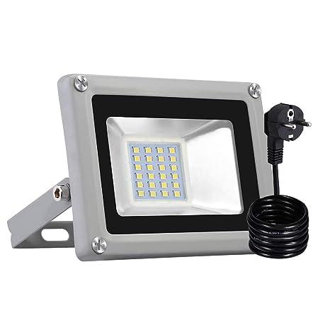 Foco LED Con Enchufe, Reflector Foco Proyector LED para Exteriores Floodlight, Súper Brillante luz de Seguridad para Jardín, Garaje, Campo Deportivo ...