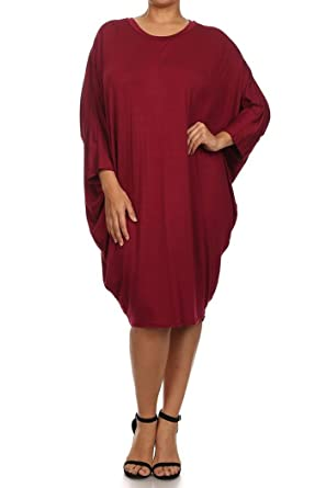 Misha Womens Plus Size Solid 34 Dolman Sleeves Midi Dress Made In
