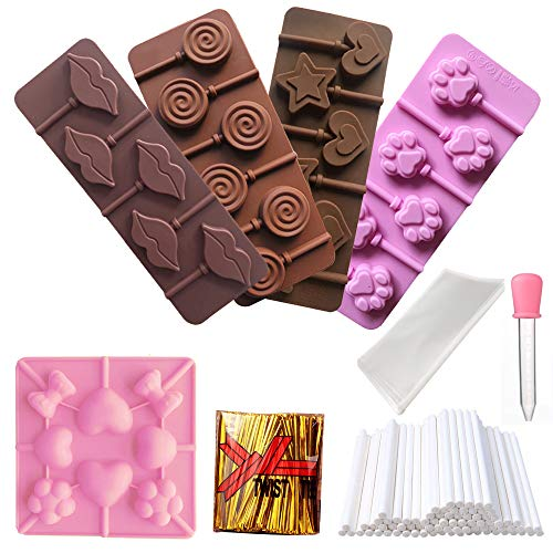 RETON 5 Pcs Silicone Lollipop Mold Candy Tray Chocolate Mould with Shape of Cat Claw, Doughnut, Lips, Double Heart Star, Love Butterfly Flower, Including 50 Sticks, 50 Treat Bags, 1000 Ties, 1 Dropper