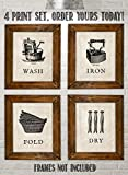 pictures of laundry rooms Laundry Room Decoration- 4 Vintage Drawing Wall Prints- 8 x10's Wall Decor- Ready To Frame. Wash-Dry-Iron-Fold- Home Decor. Laundry Decor to Symbolize the Home Duties!