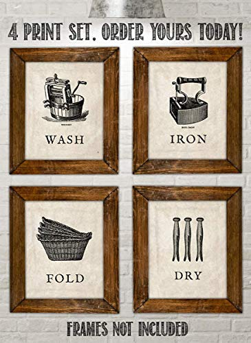 Laundry Room Decoration- 4 Vintage Drawing Wall Prints- 8 x10's Wall Decor- Ready To Frame. Wash-Dry-Iron-Fold- Home Decor. Laundry Decor to Symbolize the Home Duties!