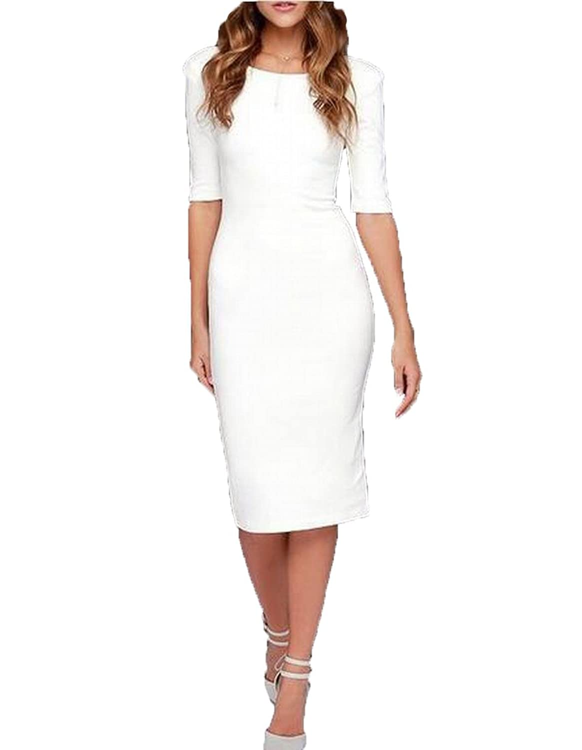Abetteric Womens Chic Zip@Up Knee Length Backless Bodycon Dress