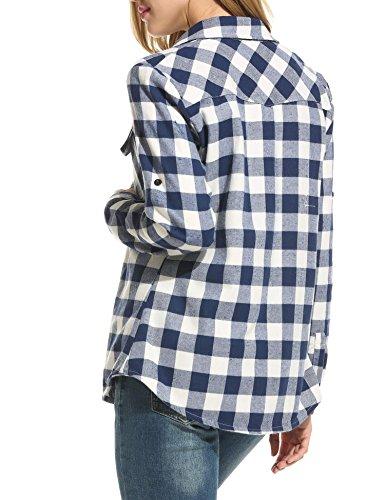 Chemise Automne Casual Femme Zeagoo Blouse Chemisier T Coton Carreaux Fonc Bleu Shirt SF1dwOxd
