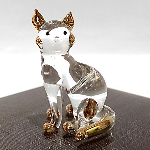 Sansukjai Cat Sit Miniature Figurines Animals Hand Blown Glass Art 22k Gold Trim Collectible Gift Decorate, Clear Gold