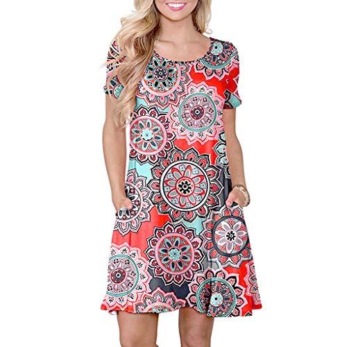 Sumeimiya Women Floral Printed Dress,Summer Short Sleeve Mini Dress Casual Swing Sundress with Pockets Orange