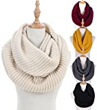 Women Winter Knit Infinity Scarf Fashion Circle Loop Scarves Thick Warm(Red/Black/Beige) (1-Beige)