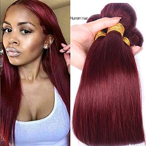 Black Rose Peruvian Virgin Hair 3 Bundles Deals 99J Wine Red Straight Hair 4 Bundles Human Hair Weft Weaves Pure Color(99J#,14