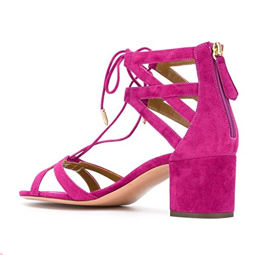 Ydn Donne Classiche Strappy Low-block Sandali Con Tacco Open Toe Cross Straps Dress Shoes Con Stringate Rosa Antico