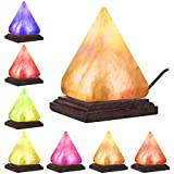 Hymilian Sea Salt Lamp - Himalayan Pink Pyramid Hand Carved Glow Rock Salt Lamps With Wood Base Included USB Electric Wire & Multi Color Changing LED Light - Mini Air Purifier For Office Home