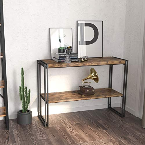 IRONCK Rustic Console Table 2 Tier, Entryway Table with Storage,1.58 Thicker Board Entry Table for Entryway Living Room, Easy Assembly, Industrial Style