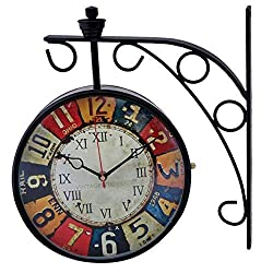 Antique Double Sided Victoria London Railway Wall Clock | 8 inch Dial | Color : Black
