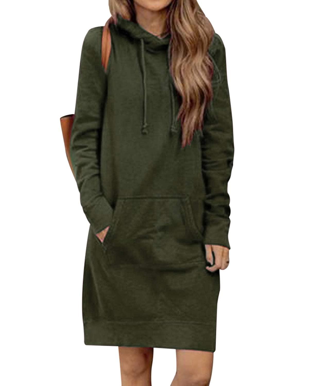 84eea8b7 Kidsform Women's Long Hooded Sweatshirt Tops Long Sleeve Hoodie Pullovers  Loose Hoodies Jumper Dresses