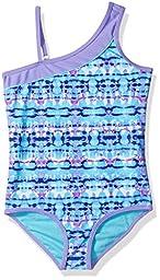 Free Country Big Girls\' Tie Dye Asymmetric One Piece with Adj Strap, Violet, 8