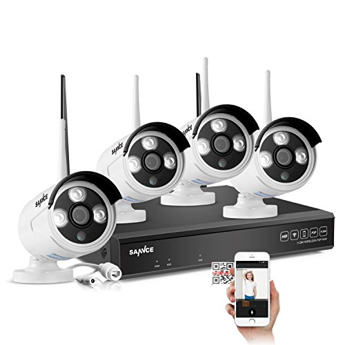 SANNCE 4CH 720P HD NVR Wireless Security CCTV Surveillance Systems(WIFI NVR Kits)-4 Pack 1.0MP Wireless WIFI Indoor Outdoor IP Cameras,P2P,100FT Night Vision, NO HDD, Email Alert by SANNCE
