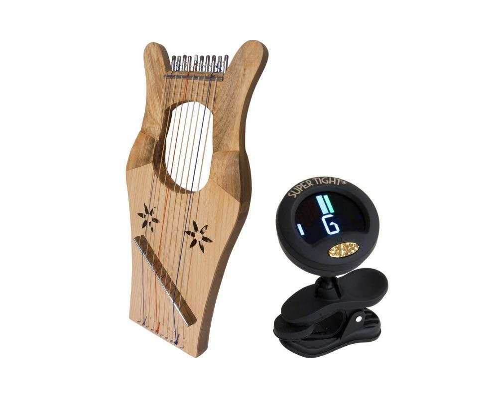Mini Kinnor Package Includes: King David's Harp Lyre - Light Walnut & Ash + Chromatic Tuner For Guitar, Lute, Oud, Dulcimer