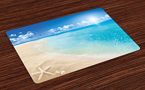 Ambesonne Beach Place Mats Set of 4, Sunny Summer Seashore with Clear Sky Seashells Starfish Clouds Aquatic Picture, Washable Fabric Placemats for Dining Room Kitchen Table Decor, Aqua Cream Blue -