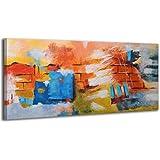 100% TRAVAIL FAIT À LA MAIN + certificat   Le tableau est dessiné par les couleurs acryliques Mur de désirs   115x50 cm   tableaux sur la toile avec sous-cadre en bois naturel   tableau fait à la main   fixation murale pratique   Art contemporain
