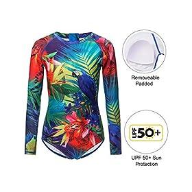 - 51XUNWj8ixL - AXESEA Womens Long Sleeve Rash Guard UV UPF 50+ Sun Protection Printed Zipper Surfing One Piece Swimsuit Bathing Suit