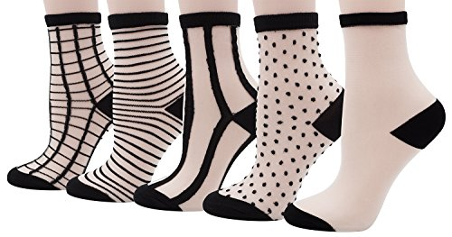(Bienvenu Girl's Black Grid Fishnet Socks Thin Summer Ankle High Tights Hosiery Socks, 5 Pairs,Black Grid Set)