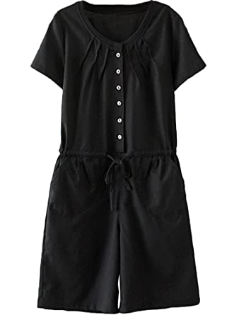 a25804b6ea5 Minibee Women s Summer Short Rompers Casual Pleated Drawstring Waist One  Piece Jumpsuit Black S