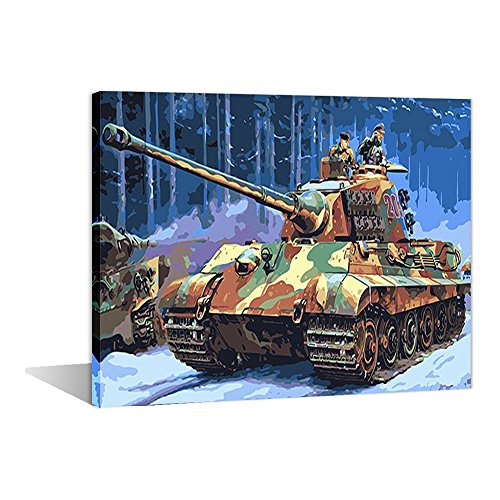 Paint by Numbers 16 x 20 inch Canvas Art Kits DIY Oil Painting for Kids/Students/Adults Beginner Wall Decorative Painting, Battle Tank(Wooden Framed) ()