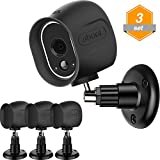 Gejoy Security Mount Wall Ceiling Adjustable Bracket and Silicone Skins Protective Cover Case for Arlo Home Camera, 3 Set (Black)