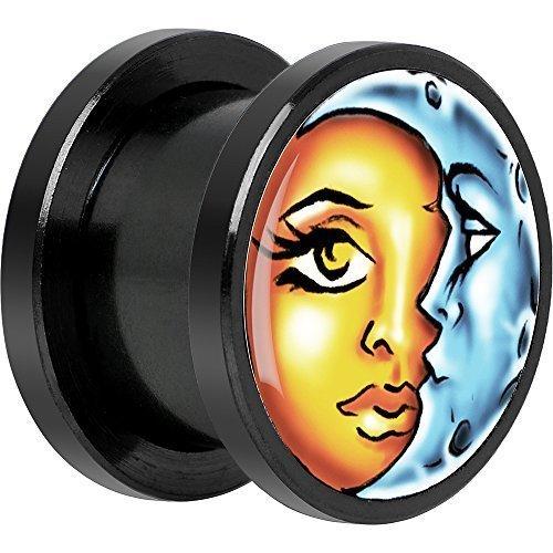 BodyCandy Cuerpo Caramelo Negro Anodizado Acero Inoxidable Celestial Sol y Luna Dilatador Ajuste Rosca Par 18mm: Amazon.es: Joyería