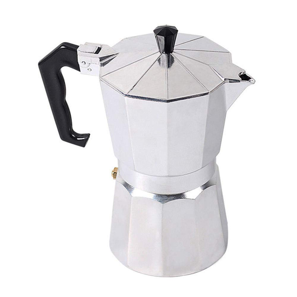 Aluminium Coffee Moka Percolator Classical Continental 3 In 1 Espresso Maker Stove Top Pot 1/3/6/12 Cup (1 Cup - 50ml) Tebasty