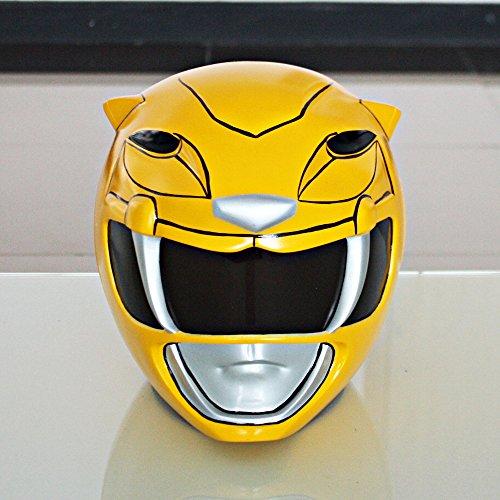 [1:1 Halloween Costume Cosplay Mighty Morphin Power Ranger Helmet Mask Yellow PR17] (Yellow Power Ranger Costumes Child)
