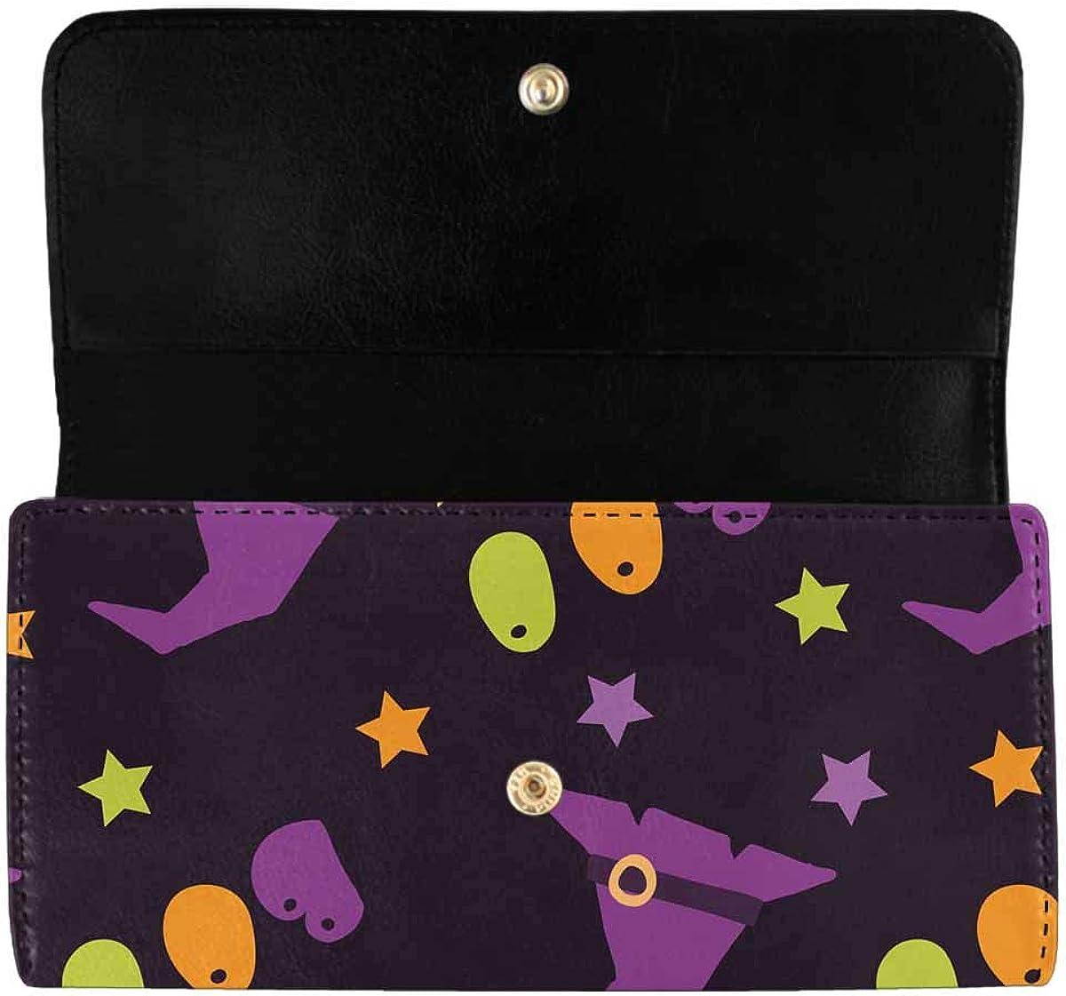 INTERESTPRINT Women's Trifold Clutch Card Holder Halloween Candy Pumpkins Witches Ghosts Purses Wallet Handbags