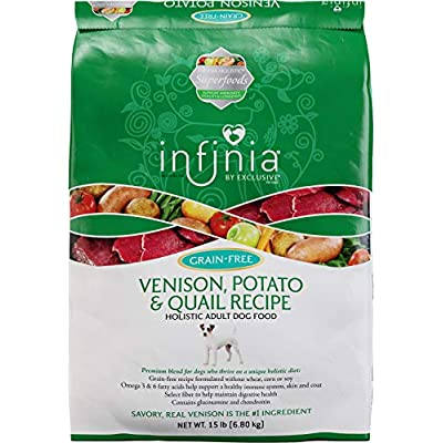 Infinia | Venision, Quail, and Potato Grain-Free Adult Dog Food | Nutritionally Complete - 15 Pound (15 lb) Bag