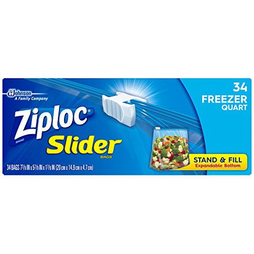 Ziploc Slider Quart Freezer Disposable Food Storage Bags, 34 Count