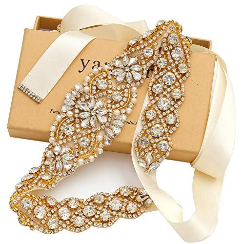 Yanstar Handmade Gold Rhinestone Crystal Wedding Bridal Belt Sash With Ivory Ribbon For Wedding Evening Party Prom Dress