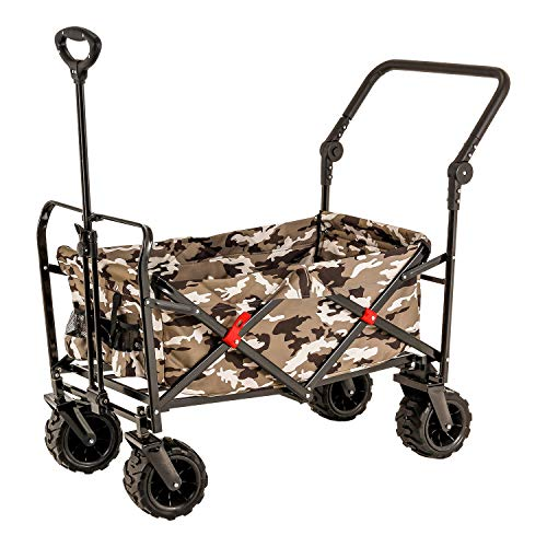 Camouflage Wide Wheel Wagon All Terrain Folding Collapsible Utility Wagon with Push Bar - Portable Rolling Heavy Duty 265 Lb Capacity Canvas Fabric Cart Buggy - Beach, Garden, Sporting Events, Picnic ()