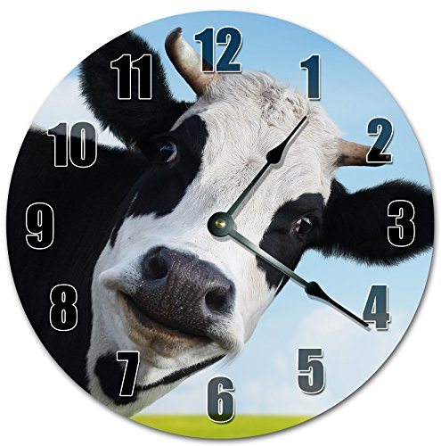ADORABLE STARING COW Clock