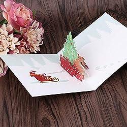 ForShop Christmas Xmas Tree Vintage 3D Laser Cut pop up Paper Handmade Custom Greeting Cards Souvenirs Postcards