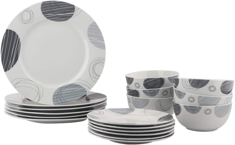 AmazonBasics 18-Piece Kitchen Dinnerware Set, Plates, Dishes, Bowls, Service for 6, Spotted