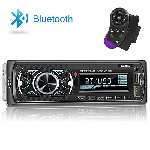 Sjoybring Multimedia Bluetooth Car Stereo, High Power Output, Built-in Microphone, Superior Sound Quality, USB/TF Card/Aux-in/FM Radio Receiver with Wireless SWC Remote and Phone Charging Port