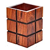 Hashcart Indian Rosewood Decorative Design Wooden Pen, Pencil Holder Handmade Traditional Storage Organiser for Desk, Office, Home Gift for Birthday